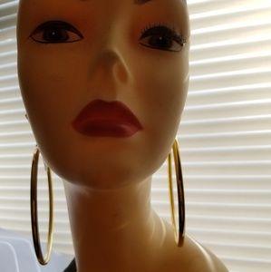 Jewelry - Gold Tone Lightweight Hoops Jumbo Ex Large Chunky